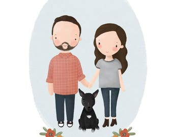 Family drawing/Family Portrait/Hipster Gift/Couple Portrait/Custom Portrait/Printable Gift/Printable Wall Art/Wall Art Decor/Valentines Day