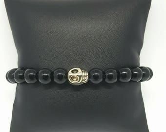Bracelet Onyx noir Tete de Mort