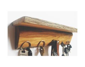 Oak magnetic key shelf - rack - strip