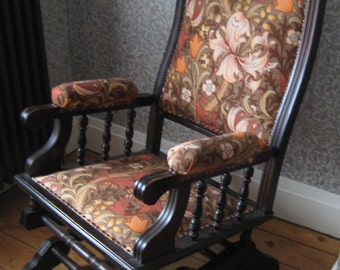 Antique Victorian American Rocking Chair, Traditionally Upholstered using Vintage 'Golden Lily' Morris & Co Fabric by Sanderson