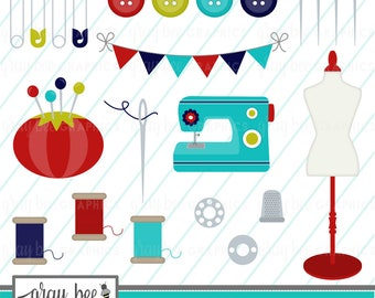 SALE! Sewing-Sewing Machine-Red & Turquoise-Buttons-Clipart Set, Commercial Use, Instant Download, Digital Clipart, Digital Images- CP243