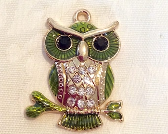 Pendant, Owl Pendant, Green Owl Pendant with Rhinestones