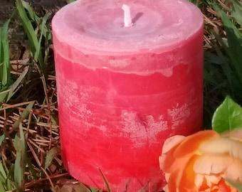 Romantic Rose Scented Pillar Candle made with natural sustainable palm wax