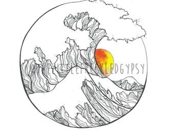 Waves Ocean Illustration Art Print