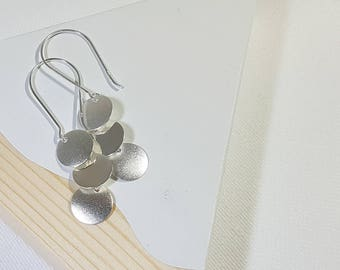 925 Sterling Silver Three tier Disc Earrings- Dangle Drop Earrings- Large Disc Earrings