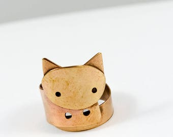 Bronze jewelry, Bronze ring, Metal ring, Cat jewelry, Cat ring, Minimalist ring, Minimalist jewelry, Cat handmade, Cat lover gift, Wife gift