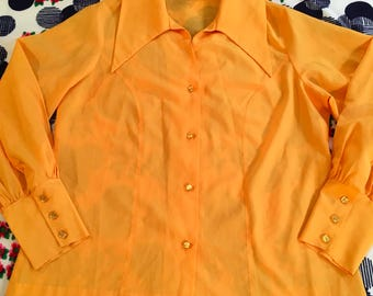 Vintage Golden Yellow Bright Colorful Huge Dagger Collar Pageant Button Up Blouse Shirt Primary Colors