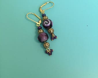 Dangle Earrings / Gold Earrings / Purple Earrings / Drop Earrings / Earring Set / Boho Earrings / Art Deco Earrings / Statement Earrings