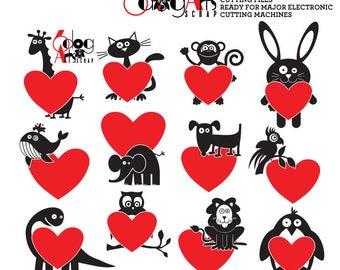Valentines Animals Digital Cut Files SVG DXF Vector Cuttable Printable Download Paper Vinyl Iron On Heat Transfer Silhouette Cricut JB-120