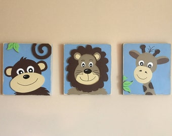 Set of 3, Baby's Room, Nursery, Baby Boy, Wood Signs, Monkey, Lion, Giraffe, Wood Signs, Distressed, Weathered,  New Born, Blue, Brown, 3D
