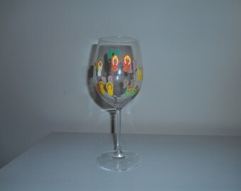 Flip Flop Wine Glass, Hand painted, 18 oz glass