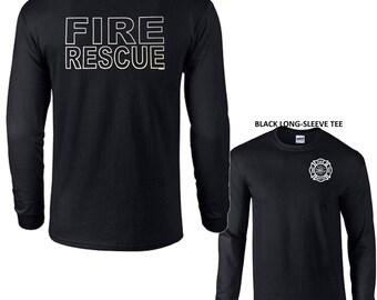 Fire Rescue Firefighter Emergency Long Sleeve Tee Shirt