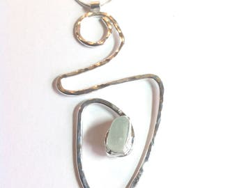 Handmade sterling silver and sea glass pendant necklace.