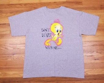 Vintage 90s Tweety Bird Don't Start With Me Attitude Gray Pink Glitter T shirt Size X Large XL Looney Tunes