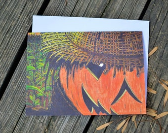 Cornfield Scarecrow// Halloween Boxed Notecards// 5x7 // Blank Inside // Envelopes Included // Stationery // Greeting Cards // Bestselling