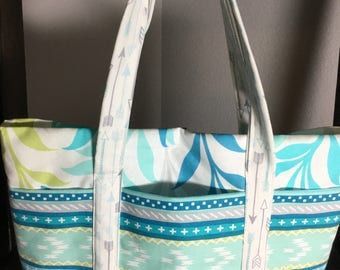 Small Tote Bag with Pockets - Pastel Green and Blue Pattern