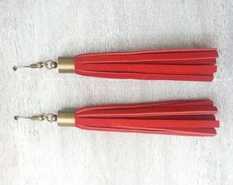Long red Leather Tassel Earrings