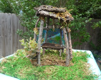 Fairy Arbor with removeable Bench and Stain glass windows