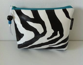 """Zebra"" cotton and leatherette imitation Zebra makeup case"