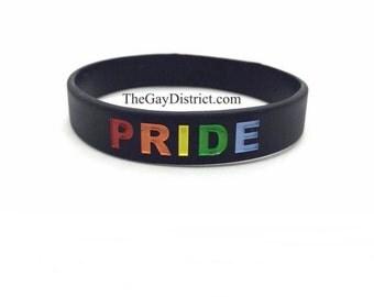 LGBT Black Rainbow PRIDE Wristband Bracelet