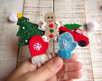 Handmade Felt Christmas Planner Clip, Gingerbread man Cookie, Christmas Vintage Van Car, Snowflake Mittens Blue and Red, Christmas Tree