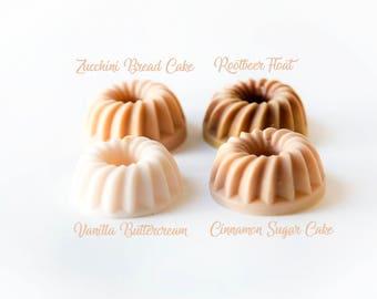 Bundt Cake Sampler (8.6 Oz.) Vanilla - Cinnamon Sugar - Zucchini Bread - Rootbeer Float - Wax Cakes - Wax Melts - Wax Tarts - Handmade Wax