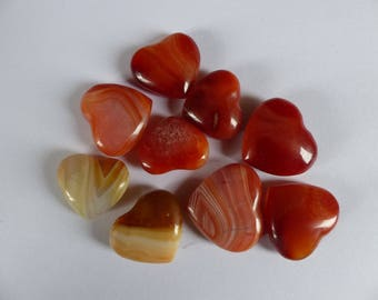 Carnelian heart orange brown - Piece of 10 to 18gr