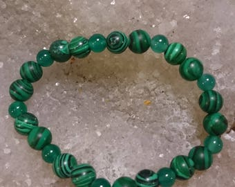 Malachite and agate verte_ lithotherapy 19cm bracelet