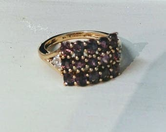 Purple Sapphire & White Zircon 10k Yellow Gold Ring