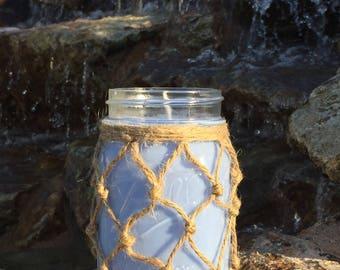 OCEAN BREEZE CANDLE, organic soy candle, mason jar candle, handmade decor, 16 ounce mason jar