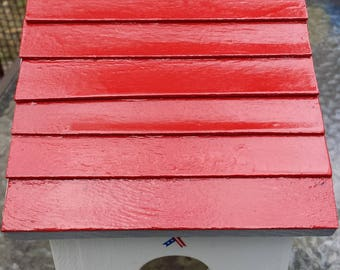 Handcrafted Red, White, & Blue Wood Birdhouse Pays Homage to USA Military Vets~American Armed Forces~Army, Air Force, Navy, Marines