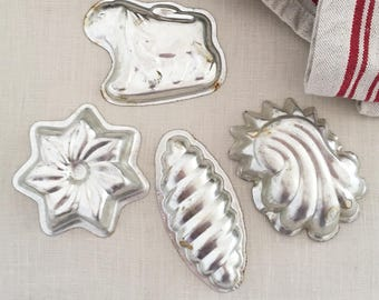 4 Antique Vintage Tin Chocolate Moulds - Kitchenalia - country kitchen - bohemian home decor - cake pastry biscuit confectionery mold #088