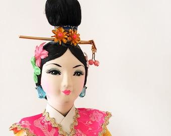 Hand Painted Vintage Silk Japanese Doll - costume souvenir - oriental japan geisha doll #0212