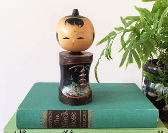 Vintage Wooden Kokeshi Nodding Doll - Japanese Doll nodders - wood kawaii japan bobblehead  #0676