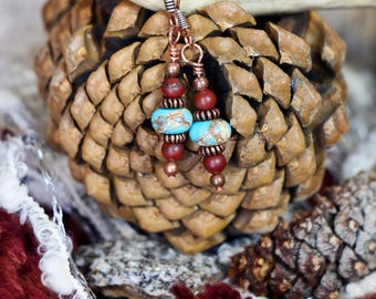 Rustic Teal & Red Jasper w/ Rosy Copper Earring Set~FREE Domestic Shipping