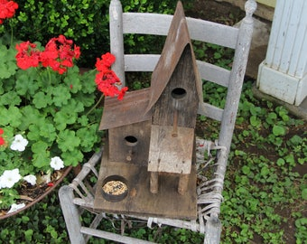 Beautiful Tall Primitive Birdhouse and Feeder