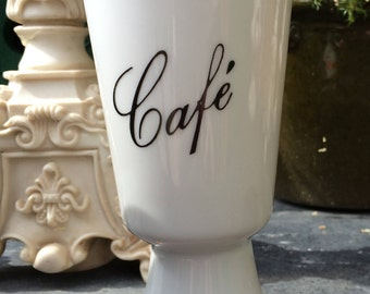 Vintage French Coffee~Cafe Cup Pot Display 1950s