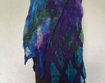 Purple Nuno felted scarf
