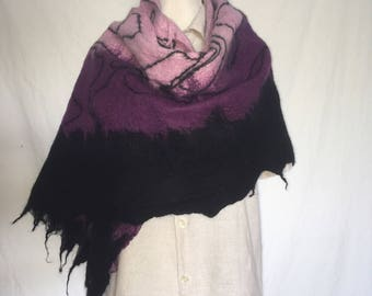 Nuno felted scarf, with silk and merino wool, rose/pink/black