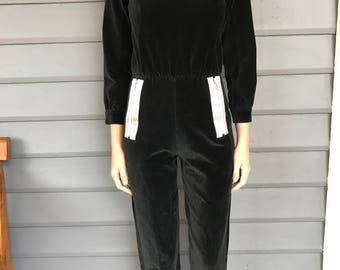 COURREGES PARIS c.1970's Velvet Jumpsuit with Silver Detailing