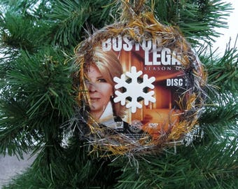 Boston Legal Christmas Ornament Upcycled TV Show DVD - Shirley Scmidt