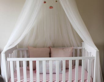 Floral Pink Crown Flower Crib or Bed Canopy With Hanging Crystals and Roses Mobile Perfet for Baby Shower Gift or Decoration or Nursery