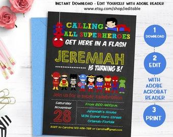 Superhero Invitation, Superhero Birthday Chalkboard, Super hero Invite, Superheroes Edit yourself, Editable invitation, Instant download