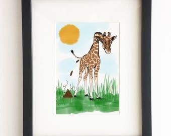 Giraffe Illustration -  Poo Collection (Home Decor, Wall Art, Africa, Animals, Poop, Illustration, Instant Decor, DIY Art, Handmade)