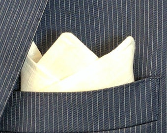 P Squared - White Double Sided Cotton and Linen Pocket Square