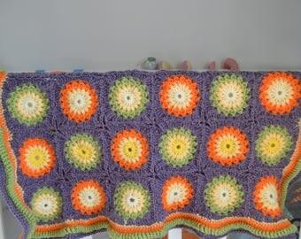 Handmade crochet baby blanket - sunburst granny square