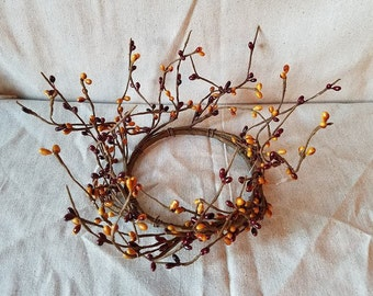"""Farmhouse Burgundy and Mustard Pip Berry Ring 5"""" Ring Country Primitive Rustic Fall Home Decor Decorative Wreath Pip Berry Candle Ring"""