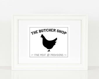 The Butcher Shop Chicken Print  | Kitchen Print | Kitchen Art | Farm House | Chicken | Digital Print | Print | Wall Art