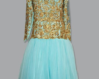 Fairy Blue Wedding dress, Asian Dress, Indian Gold Blue, Blue material with gold detail, Waist: 34 inches