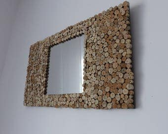 Brown rectangular frame Driftwood mirror